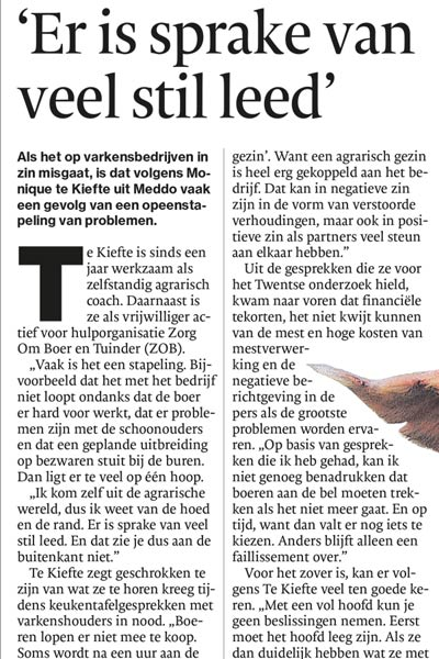 Te Kiefte Coaching - Bericht in de media